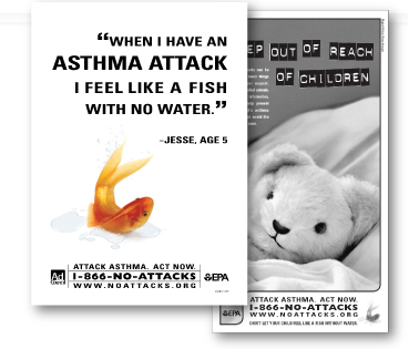 collage of Asthma informational brochures