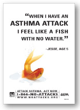 Color image of Asthma Attack Print ad in english